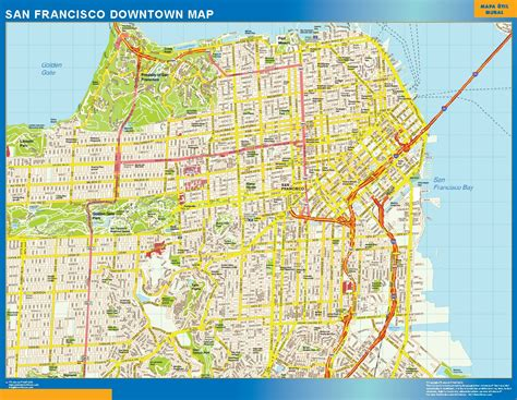 san francisco map free world wall maps store san francisco downtown map more