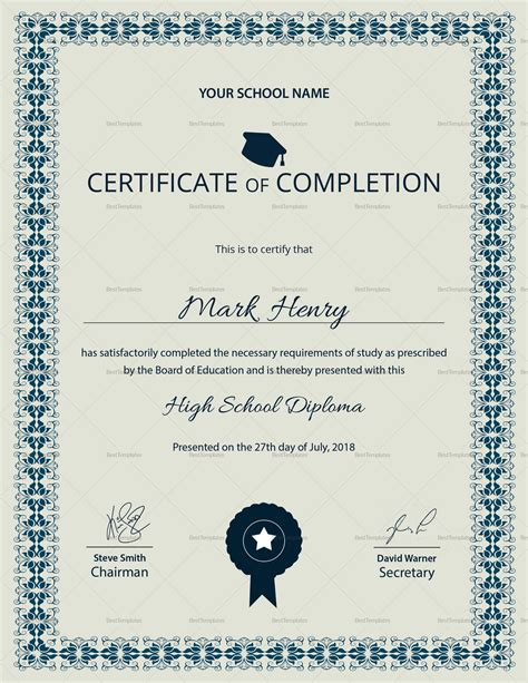 Diploma Certificate Template by High School Diploma Completion Certificate Design Template