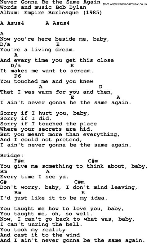 bob song never gonna be the same again lyrics and