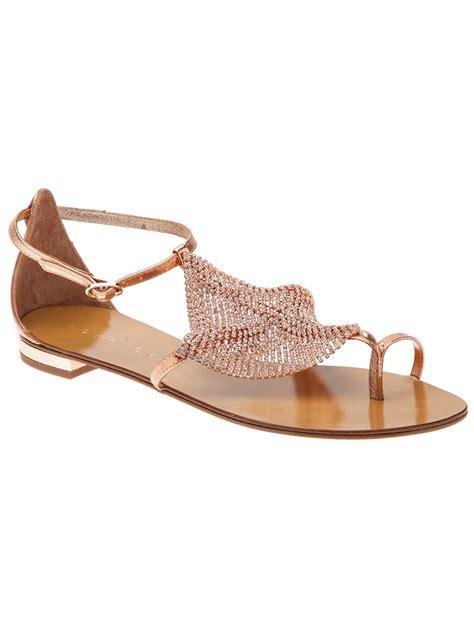 lola sandals lola swarovski stud sandal in pink lyst