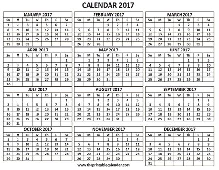 printable 2017 calendar one page 12 month calendar
