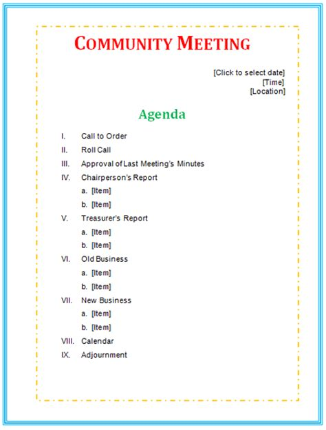 quality meeting agenda template microsoft office templates