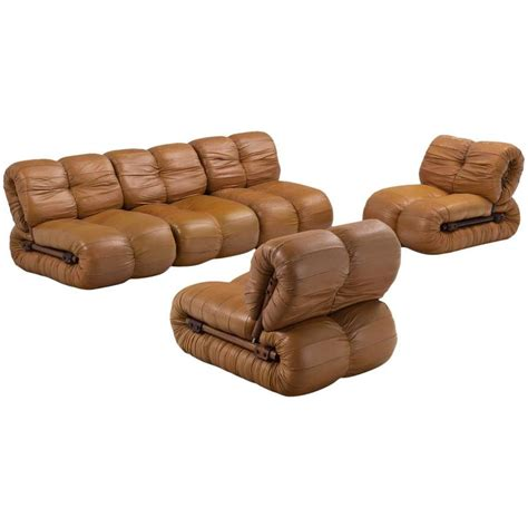 percival lafer modular sofa in rosewood and cognac leather