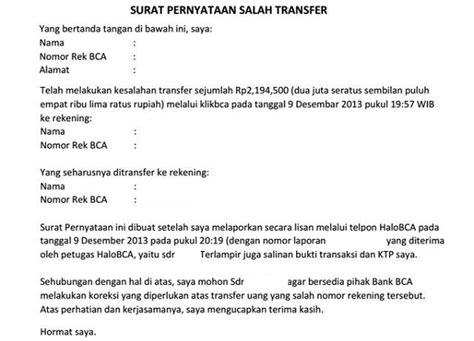 buat rekening bca atas nama orang lain contoh surat pernyataan salah transfer uang bank