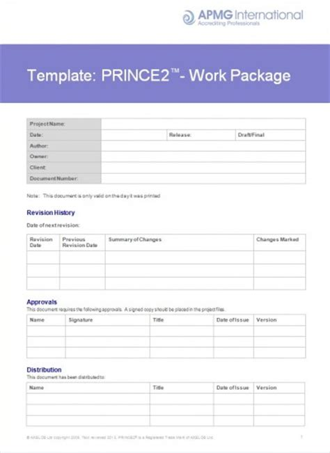 project work package template prince2 174 work package template apmg business books