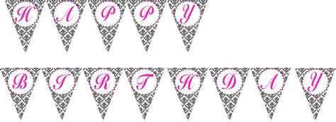 free printable damask banner printable flag banner birthday party baby bridal shower