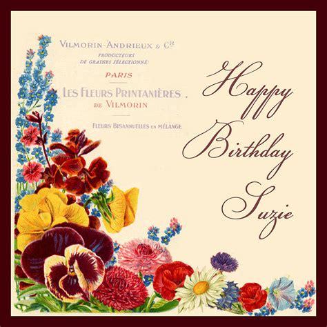 Flower Cards For Birthdays Vintage Flowers Birthday Card By Amanda Hancocks