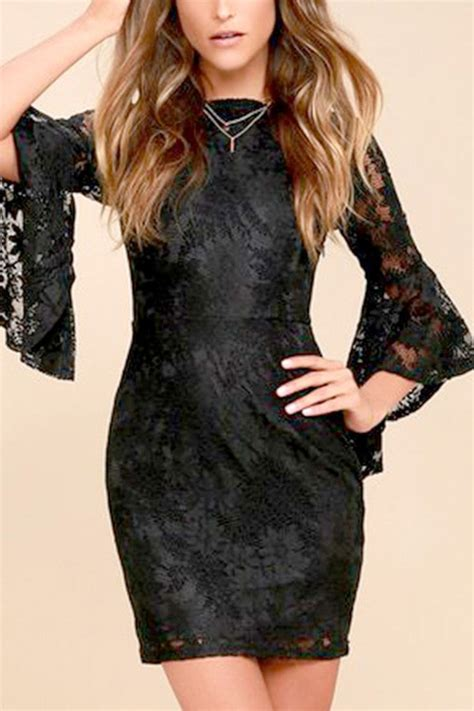 Black Hollow Back Size L black lace hollow out flare sleeve v back bodycon dress 042259 casual dresses