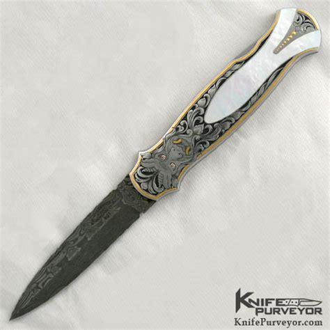 Tom Handcrafted Knives - tom overeynder pearl lockback engraved by julie