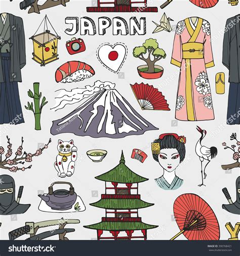 doodle japan japan doodle elements seamless pattern vintage stock