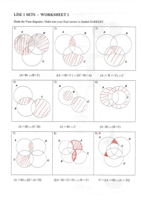 sets shading venn diagrams sets worksheet 1 answers shade the given venn diagrams