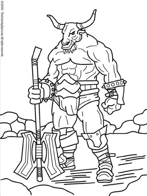 Minotaur Mythical Creatures Coloring Pages Colouring Minotaur Coloring Pages