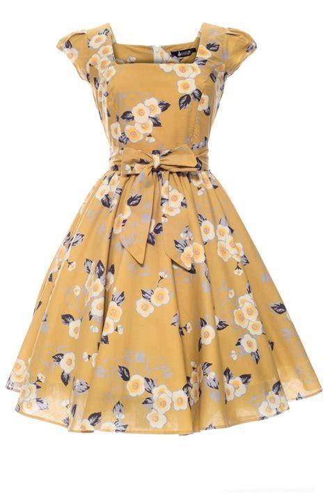 yellow swing dress yellow floral swing dress attire pinterest