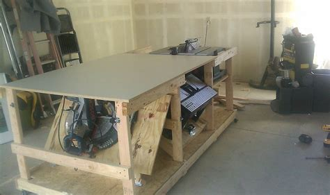 table saw router table and miter saw mobile station by