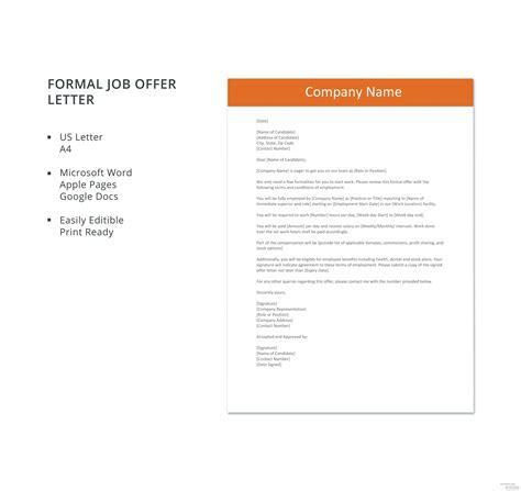formal job offer letter template microsoft word