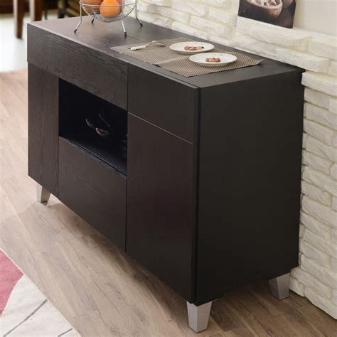 Carrera Contemporary Black Finish Buffet Cabinet Sideboard Contemporary Sideboard Buffet