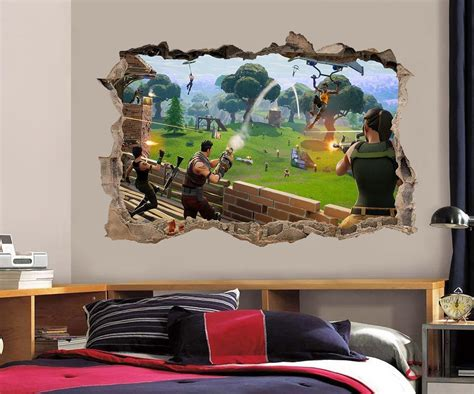 fortnite  smashed wall sticker decal home decor