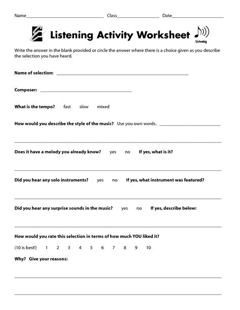 Listening Comprehension Worksheets by Listening Activity Worksheet Listening
