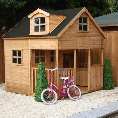 Who Played In House by Mercia 7 X 7 Storey Wooden Playhouse Wendy House With Dorma Window