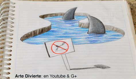 imagenes faciles para dibujar en 3d dibujo anam 243 rfico 161 dibujando tiburones 3d en mi cuaderno