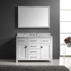 Caroline 48 inch single square sink bathroom vanity in white by virtu