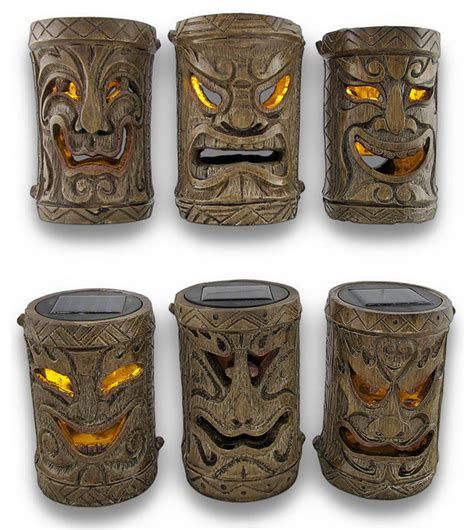 Set Of 6 Friki Tiki Flickering Solar Accent Lights Island Outdoor Tiki Lights