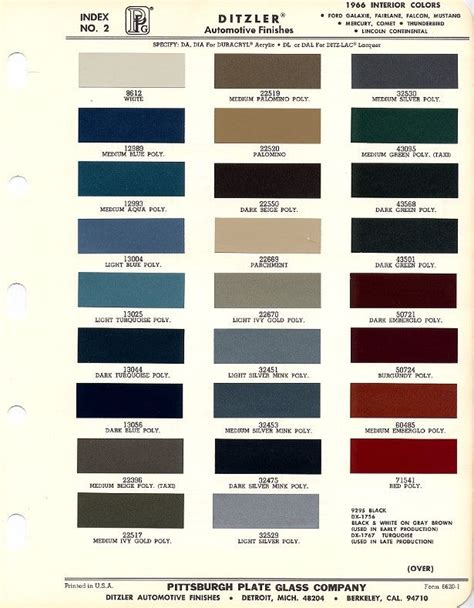 1966 mustang interior paint charts maine mustang misc auto maine colors and