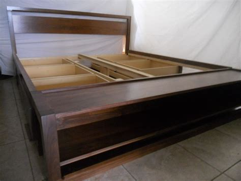 Handmade Wood Bed - handmade king size bed frame with storage and bench on