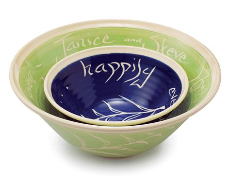 custom bowls personalized wedding nesting bowls set of 2 wedding bowl gift uncommongoods