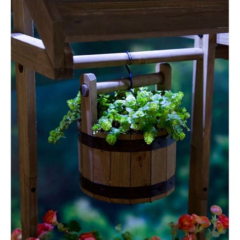 Hello Garden Light With Planter by Wishing Well Wooden Planter With Solar Light Decorative