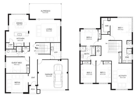 2 storey 4 bedroom house plans stylish 4 bedroom house designs perth double storey apg