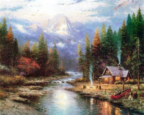 thomas kinkade painter of light thomas kinkade paintings with lake majority of two the