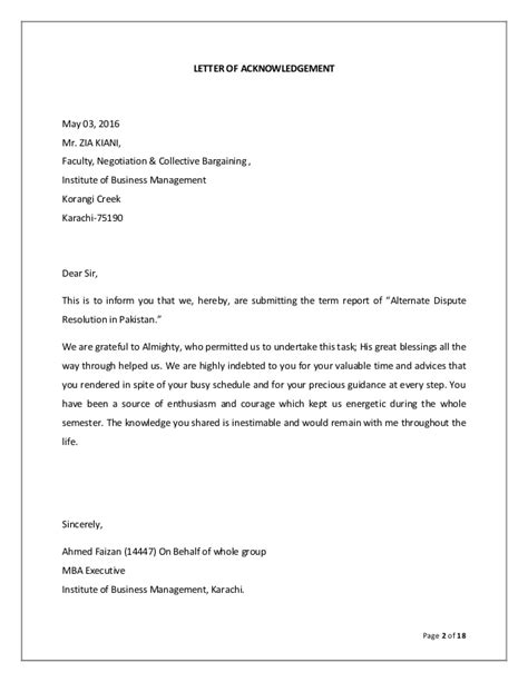 Dispute Resolution Letter Format Alternate Dispute Resolution