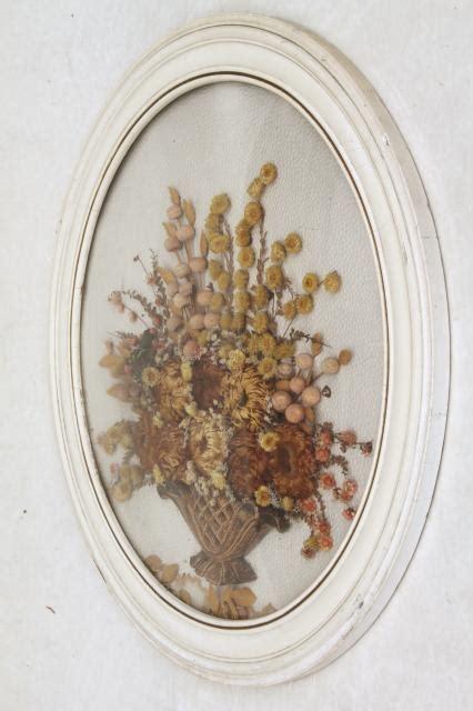 vintage convex bubble glass  wood picture frame  dried flowers bouquet