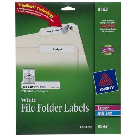 Avery White File Folder Labels 8593 2 3 Quot X 3 7 16 Quot 150pk Walmart Com Avery 8593 Template