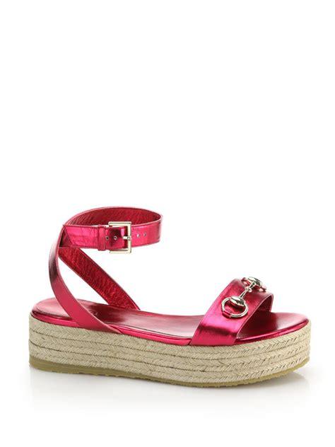 Wedges Gucci Import 18 gucci metallic leather raffia horsebit platform sandals in raspberry lyst