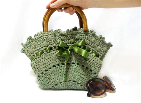 Handmade Crochet Bags And Purses - crochet bag handmade tote bag midi bag purse green