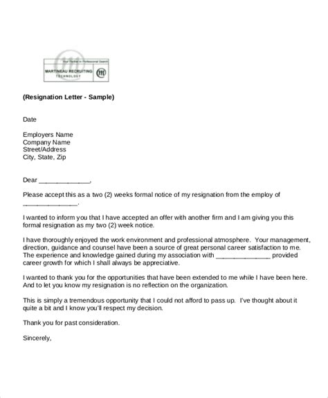 standard resignation letter templates ms word