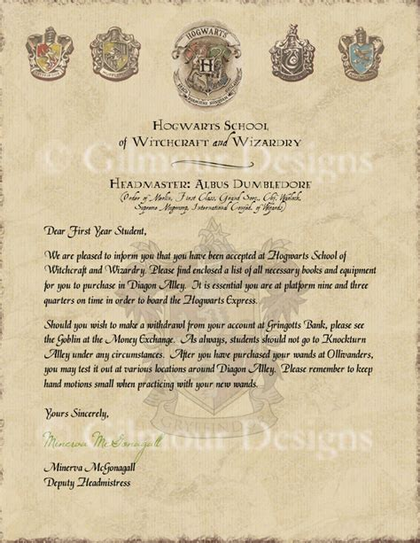 Harry Potter Acceptance Letter Etsy Harry Potter Hogwarts Acceptance Letter By Gilmourdesigns