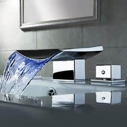 lovely Changing A Kitchen Sink Faucet #4: Chrome_Finish_Color_Changing_LED_Waterfall_Widespread_Bathroom_Sink_Faucet.jpg