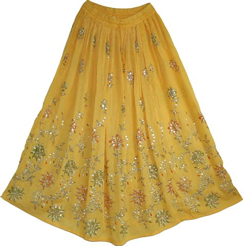 Indian Skirt 5 sequined cotton skirt in yellow from india sale on bags skirts jewelry at
