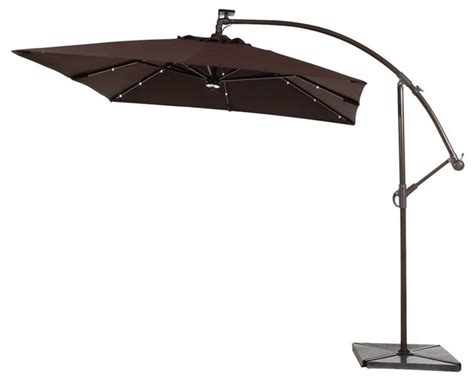 Patio Umbrellas With Led Lights Abba Patio 8 Ft Solar Powered 32 Led Cantilever Patio Umbrella With Base Coffee Modern