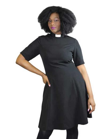 Nzns Black Dress knee length clergy dress black house of ilona designer
