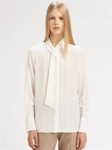 Tie Top Blouse White lyst chlo 233 silk neck tie blouse in white