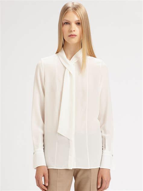 30029 White Tie Blous lyst chlo 233 silk neck tie blouse in white