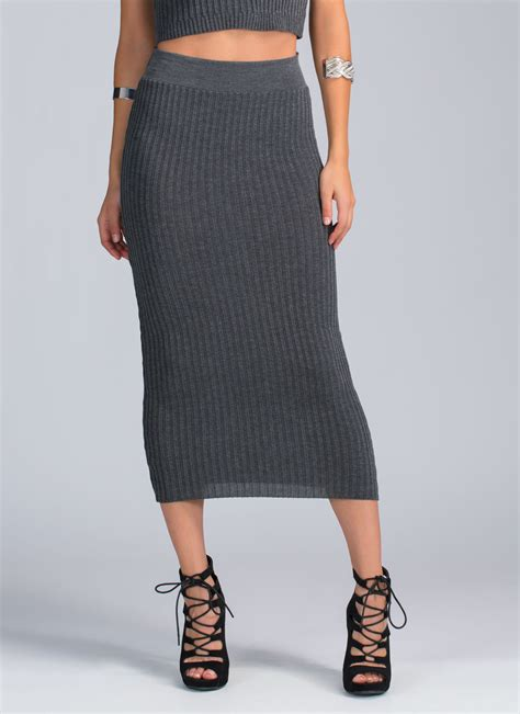 Rib Knit Midi Skirt 90s baby rib knit midi skirt burgundy charcoal olive