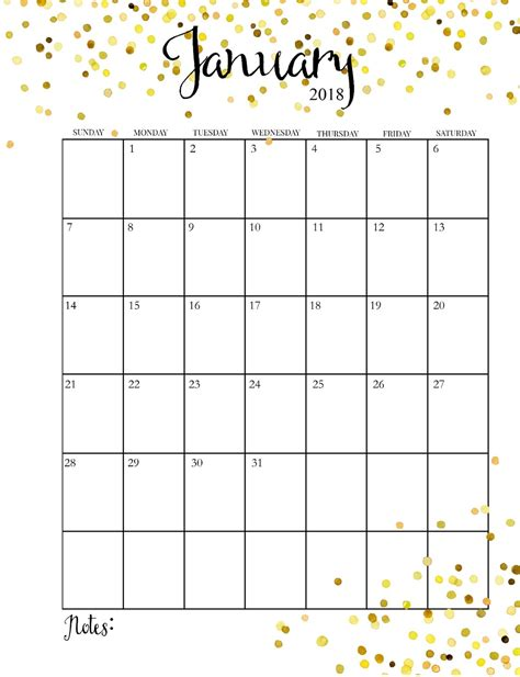 printable monthly calendar for january 2018 month to month printable calendar 2018 calendar 2018