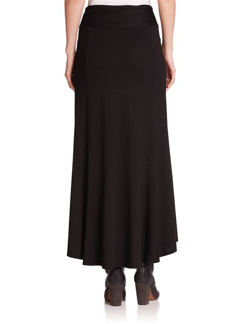 three dots knit hi lo maxi skirt in black lyst