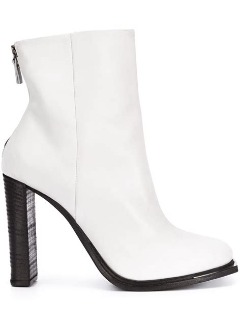 white high heels boots vic mati 233 high heel leather ankle boots in white lyst