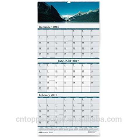 Calendar 2018 Wall Hanging Wholesale Custom 3 Months Wall Hanging Calendar Printing